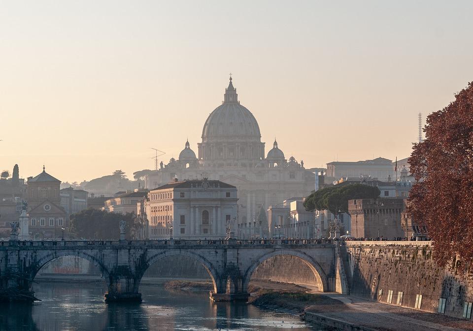 Roma, Puesta De Sol, Puente, Cúpula, Arquitectura