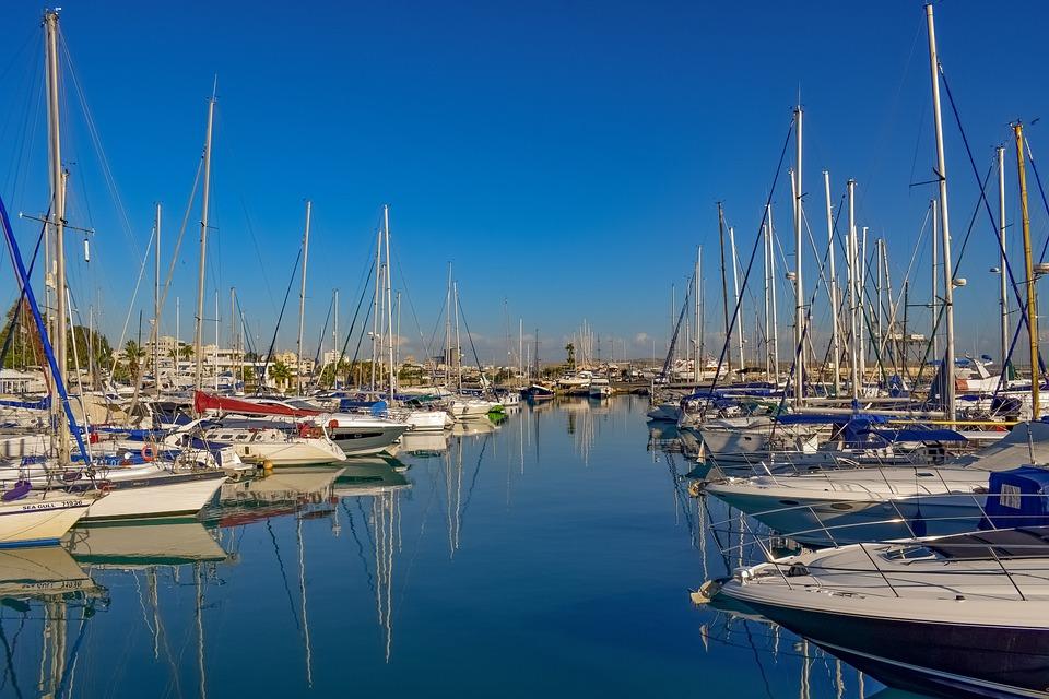 Cyprus, Larnaca, Marina, Boats, Sea, Reflections