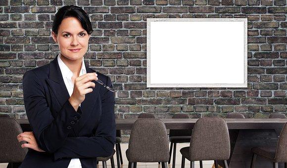 Mulher de negócios, escritório, reunião, mock-up