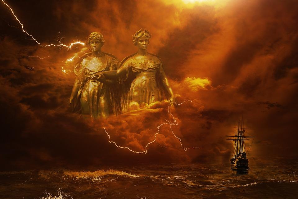 Fantasy, Dark, Storm, Lightning, Goddesses