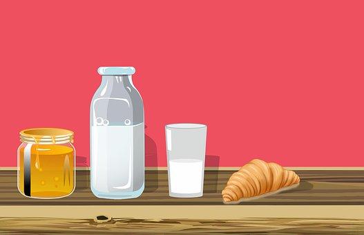 朝食, 食品, テーブル, 新鮮な, おいしい牛乳, 木造, 食事, 食べる