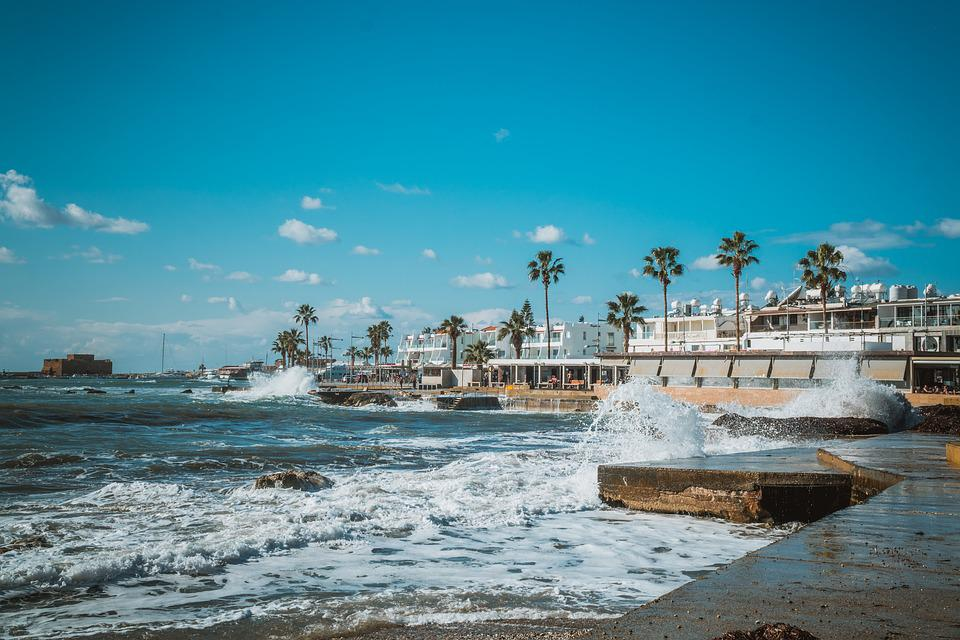 Cyprus, Pafos, Sea, Lake, Rauh, December, Weather