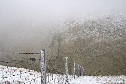 Boundary, Fence, Border, Snow, Landscape
