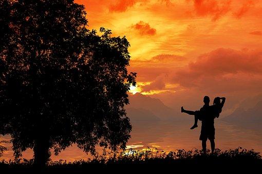 Love, Couple, Silhouette, Sunset