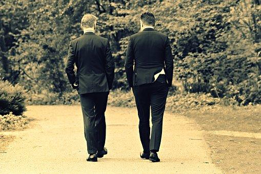 Men, People, Walking, Path, Park, Suit