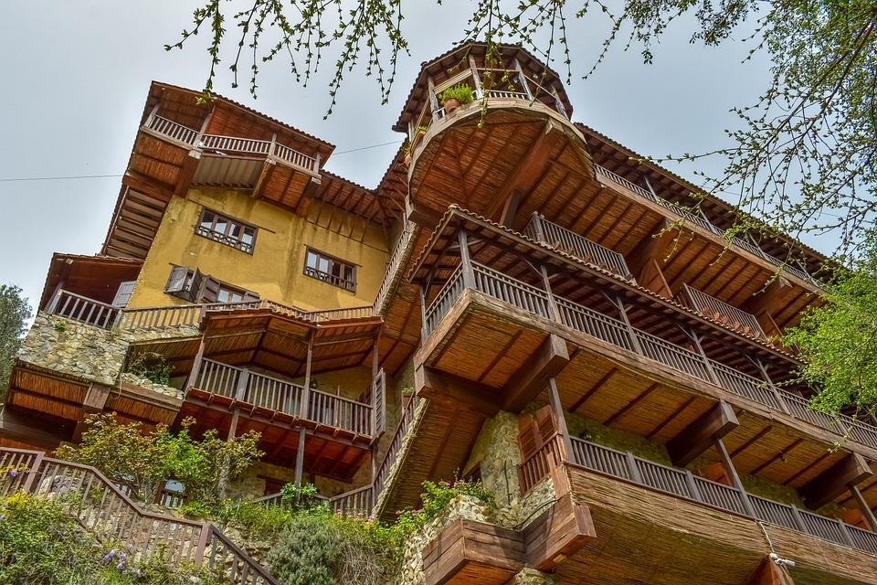 Hotel, Building, Architecture, Facade, Stone, Wooden