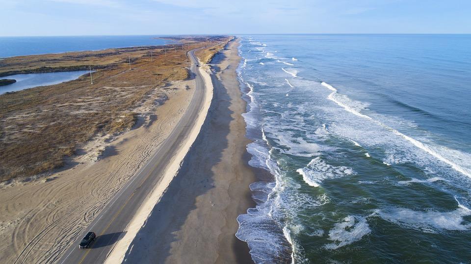 空気, ドローン, ビーチ, 道路, 波, 風景, 海, Quadrocopter, 自然, 屋外