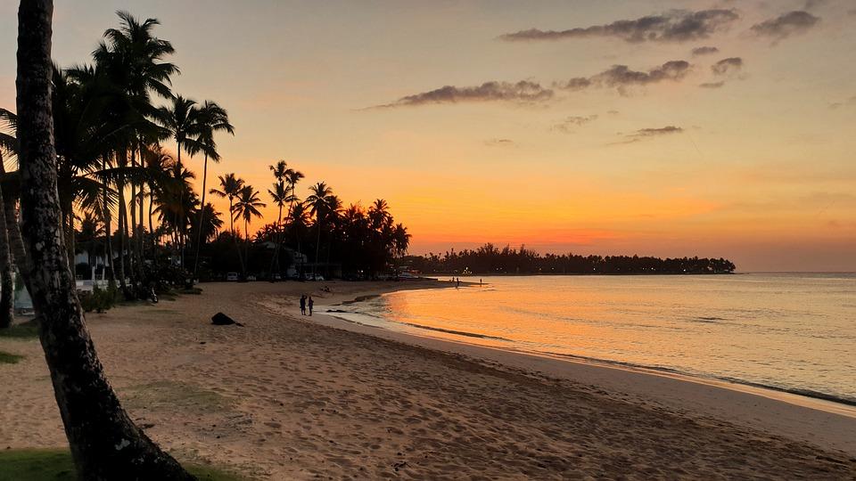 Dominikana, Beach, Zachód Słońca, Las Terrenas, Karaiby
