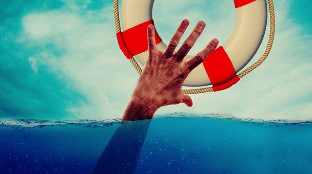 Lifebelt, 手, 湖, 溺死, 水, 海, 救助, ヘルプ, サポート