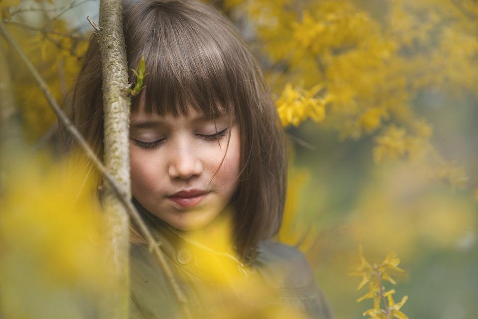Girl, Laburnum, Flowers, Thoughtful, Garden