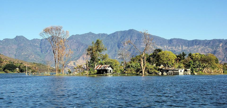 Gwatemala, Atitlan, Jezioro, Brzeg, Siedlisko, Wulkan