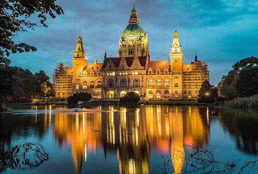 Hannover, Rathaus, See, Architektur