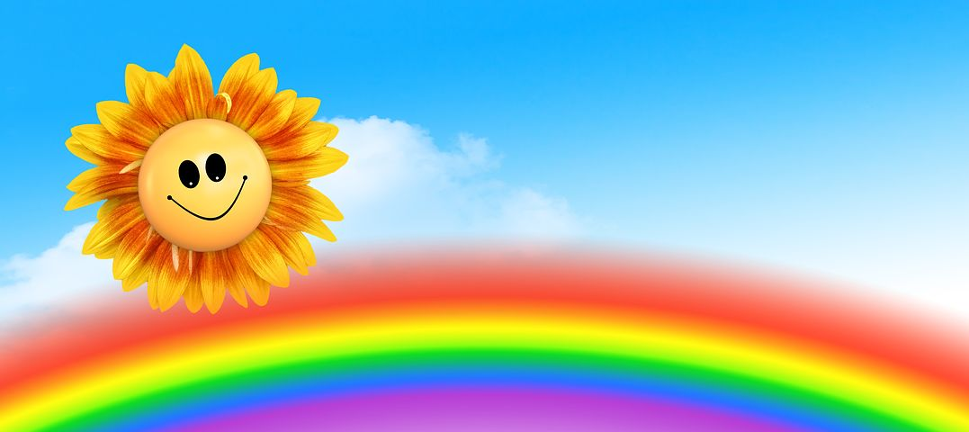 Картинка солнышко улыбается на голубом фоне
