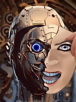 Robot, Manusia, Cyborg, Wajah, Hapus