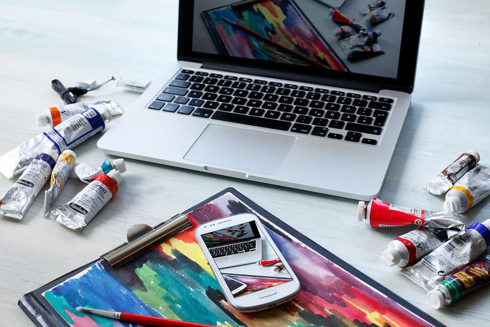 ワークプ レース, Macbook, コンピューター, デジタル, 油絵, 技術, 仕事, 創造的です