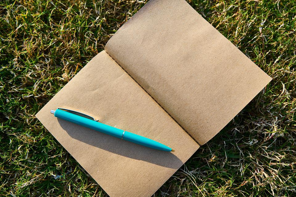 Notebook, Pen, Book, Author, Page, Grass, Background