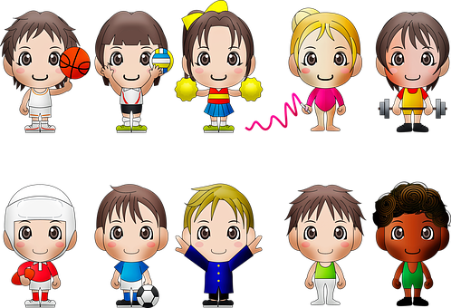 Chibi Kids, Sports, Chibi, Boy, Ball