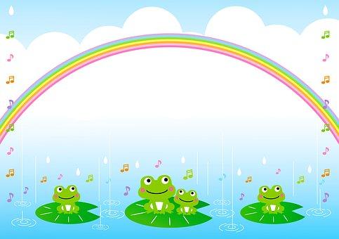 Kawaiiカエル, 梅雨, 日本, 季節, アジア, かわいい, アジサイ