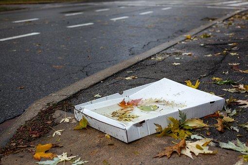 ピザカートン, 天気, ごみ, 紙, 紙箱, 秋, 道路, 捨てください