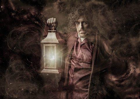 Fantasy, Mysticism, Lamp, Man, Light