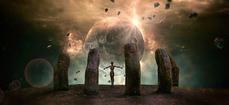 Fantasy, Planet, Moon, Light, Magic
