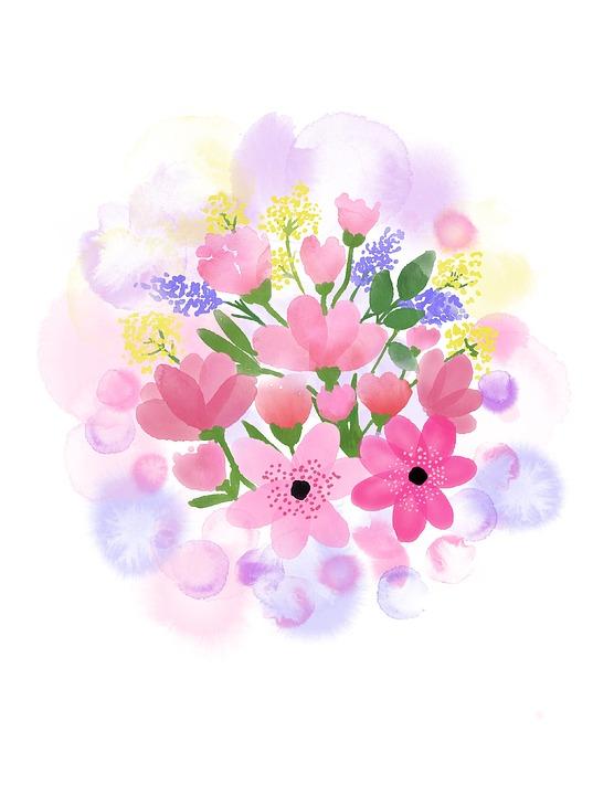 Watercolor Flower, Spring, Nature, Floral, Bouquet