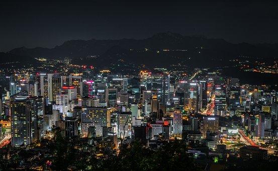都市の景観, ソウル, 韓国, 南山, 市, 空, 泊, 風景, 韓国語, 都市