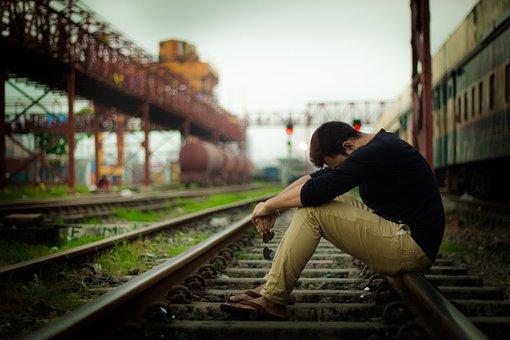 鉄道, 悲しい, 孤独です, 残念なことに, 絶望的な, 男, 旅行, 悲しみ