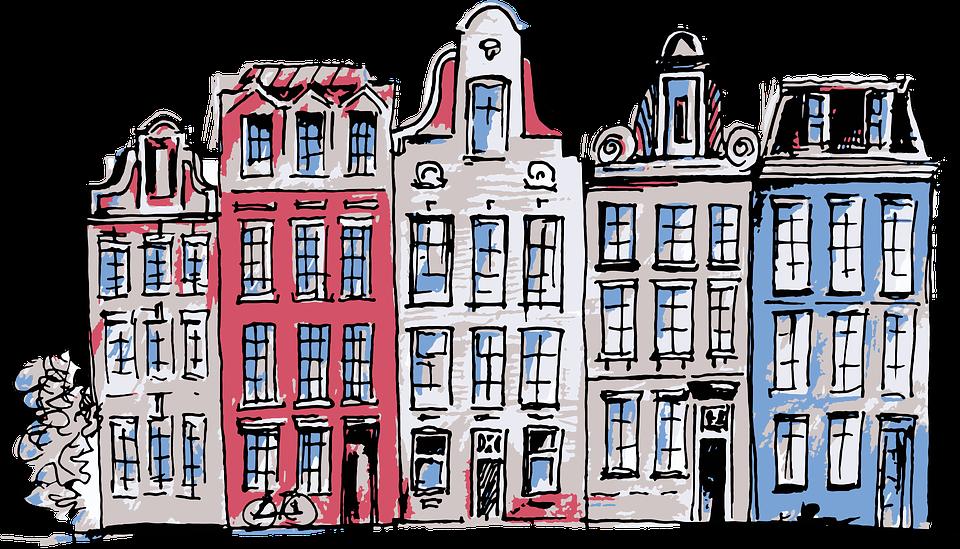 アムステルダム, オランダ, 住宅, ストリート, アーキテクチャ, 市, カラフルです, チャネル, 建物