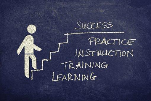 成功, 階段, ボード, 図面, 定量, キャリア, 野心, 上昇, 進行状況