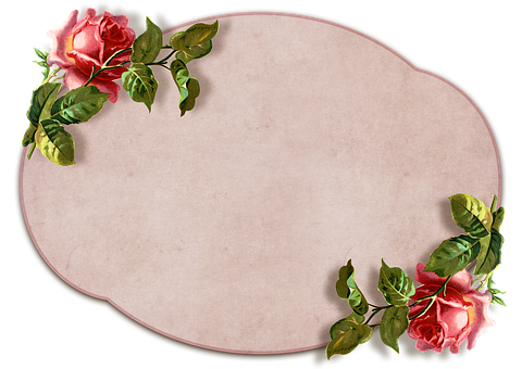 Vintage, Roses, Label, Transparent