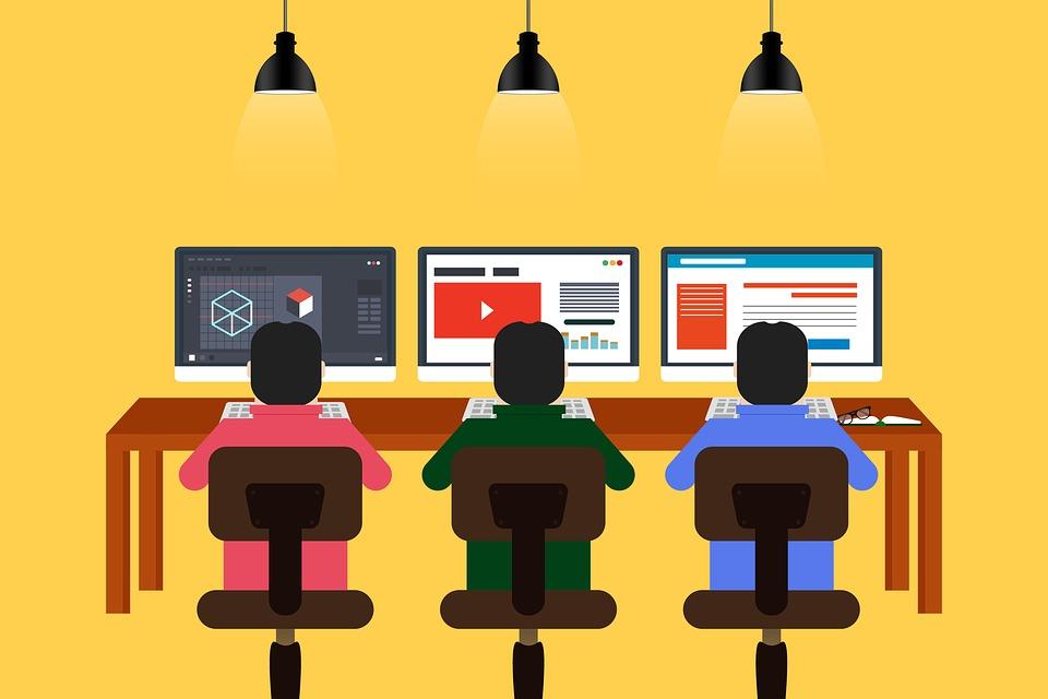プログラミング, 設計, コワーキング, チーム, 群衆, チームワーク, 人の協力者, 同僚