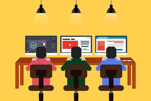 プログラミング, 設計, コワーキング, チーム, 群衆, チームワーク