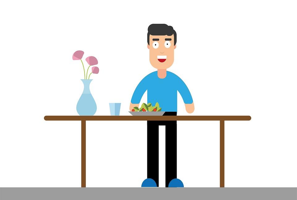 食べる, テーブル, 男, 食品, 美食, 夕食, 食事, 栄養, おいしい, グラフィック, 花瓶, 花