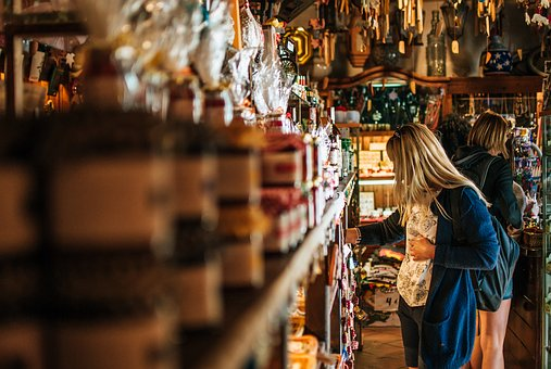 Girl, Woman, Shop, Souvenirs, Shelf