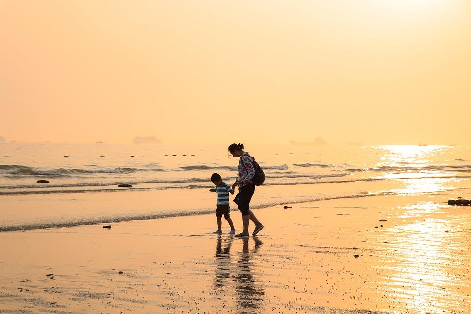 Beach, Mare, Tramonto, Madre, Mamma, Figlio, Bambino