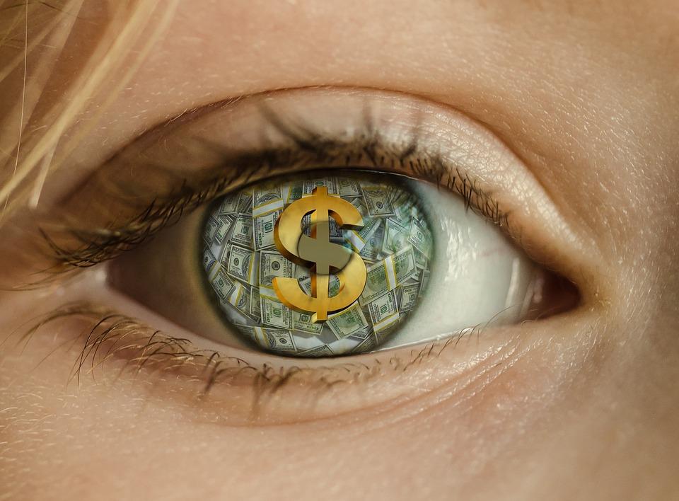 Geld, Auge, Dollar, Gier, Reich, Bargeld, Reichtum, Stapel