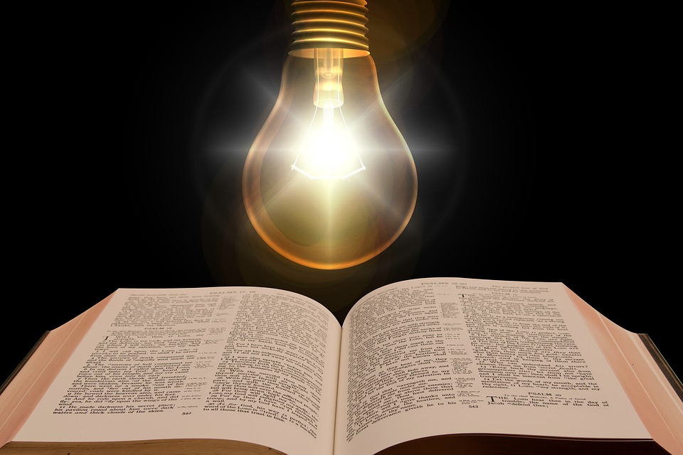 Bible, Book, Light Bulb, Light, Enlightenment