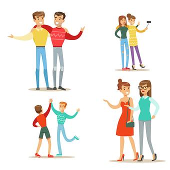 お友達と, 人, 友情, 家族, 幸せ, 女の子, 女性, 男性, 話, 会議