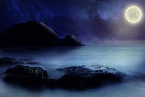 Sea, Rock, Moon, Starry Sky, Fantasy