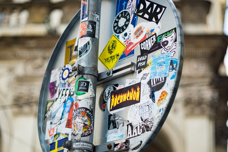 Sign, Street, Prague, Stickers, Ads, Road, Note