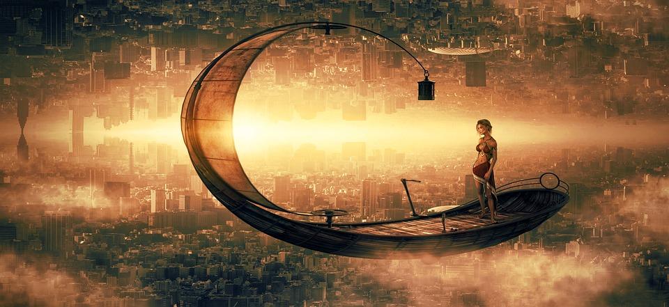 Fantasy, City, Ship, Flying, Girl, Woman, Light, Sun