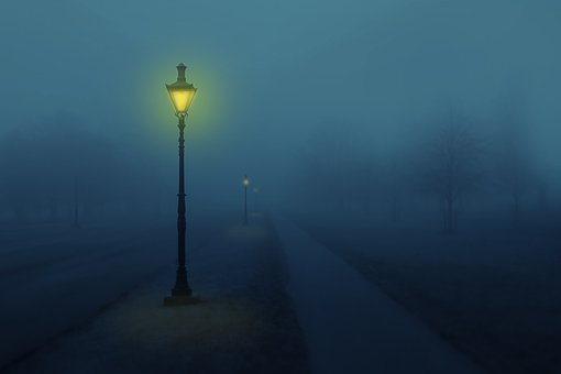 Night, Fog, Street Lamp, Light, Trees