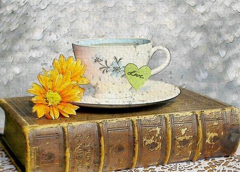 컵, 차, 휴식, 책, 오래 된, 포도주, 꽃, 황색, 디지털, 아트