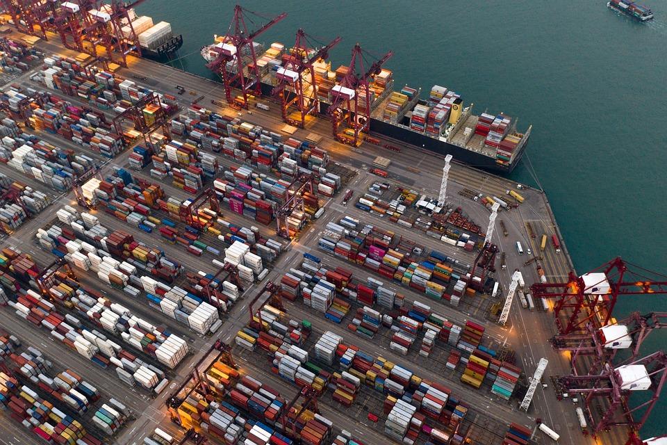 コンテナ, ターミナル, ポート, 船, 出荷, 貿易, エクスポート, 貨物, 読み込み, 業界