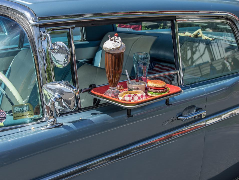 Snack, Fast Food, Hamburger, American, Cars, Oldtimer