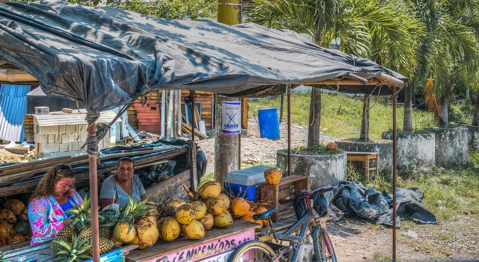 Stoisko Owoce, Gwatemala, Ananas, Kokos, Tropikalny