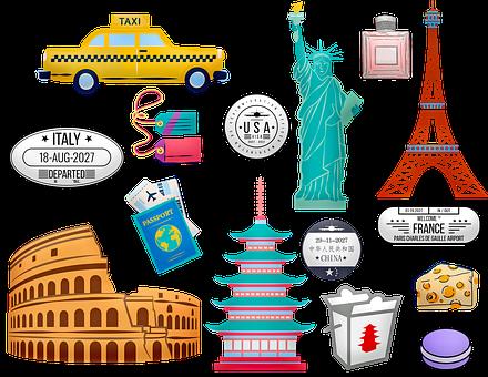World Travel, Rome, China, Paris