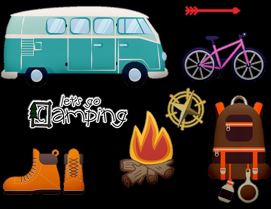 Road Trip, Camping, Vw Van, Fogata, Bicicleta, Brújula