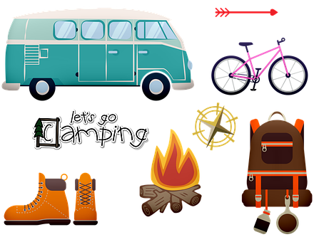 Road Trip, Camping, Vw Van, Campfire